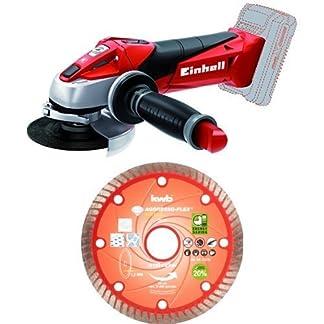 Einhell TE-AG 18 Li solo – Amoladora (sin batería, Power X-Change, 18 V) color rojo + KWB 49721140 – Disco corte diamante fino 115×22 mm sb