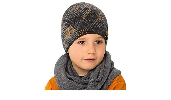 Generisch AJS Jungen Kinder Set Kinderm/ütze M/ütze Beanie Loopschal Baumwolle Fr/ühling Herbst Farbe Grau