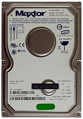 250GB HDD Maxtor DiamondMax 10 6L250R0 IDE/PATA-Festplatte ID13286 -