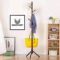 shreenath craft Coat Rack Hanger, Wooden Coat Rack Free Standing, Coat Hat Tree Coat Hanger Holder Stand with Round Base for Clothes,Scarves,Handbags,Umbrella-(8 Hooks, Brown) (Brown)