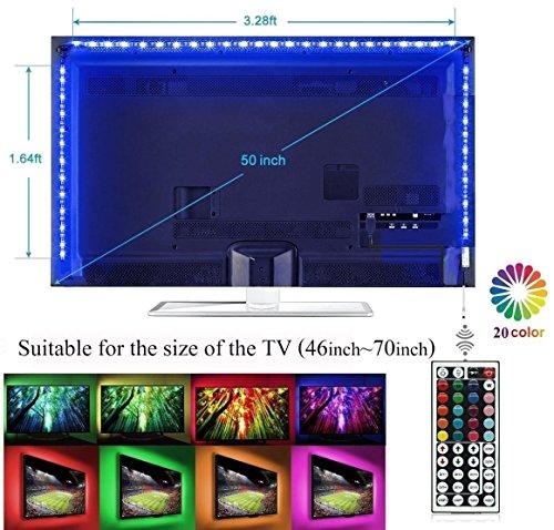 LED Retroilluminazione TV, USB LED illuminazione Bias per HDTV con Telecomando a 44 Tasti, Luci Strisce di Multicolore Flessibile per Monitor PC/Camera / Festa/Decorazione per La Casa