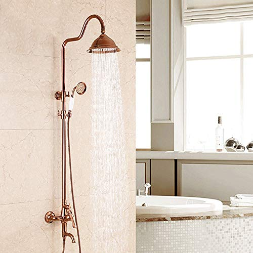 AXWT Duscharmatur Duschsäule 3 Funktionen Duschsystem Schwarz Regen-Dusche-Set mit Duschkopf Handbrause Verstellbare Schienen Duschpaneel Duschgarnitur, Rose Gold