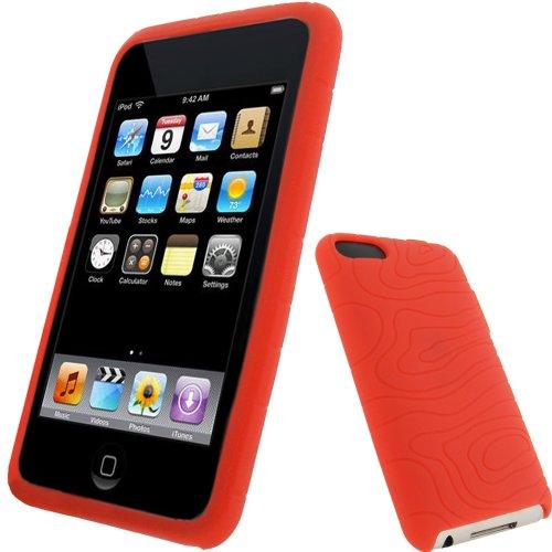 igadgitz U0279 Silikon Hülle Etui Case Schutzhülle Tasche für Apple iPod Touch 2. & 3. Generation mit Schutzfolie - Rot