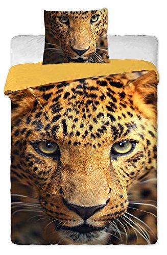 Parure da letto con motivo leopardo, copripiumino per letto singolo, 100% cotone