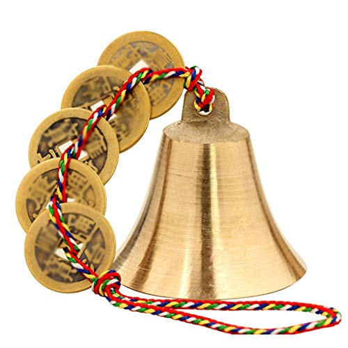 Lily Windspiel im Freien Messing Windspiel Anhänger Metall Bell Fünf-Farben-Linie Kupfer Bell Kupfer Bell Home Decoration Garten (Color : Gold) -