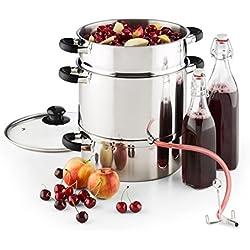 KLARSTEIN Applebee Extracteur de jus électrique à Vapeur - Confection intégrale en INOX, Poignées Cool-Touch, Chauffage intégré de 1500 W, Réservoir de Fruits avec Un Volume de 8 L
