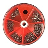 gossipboy 76PCS/1SET Angeln Tackle Box Zubehör Angeln Tackle Case Utility Box–hoher Stärke heavy duty Angeln Rolling Barrel Wirbel Zubehör Stecker Kit (100% Kupfer + Edelstahl)