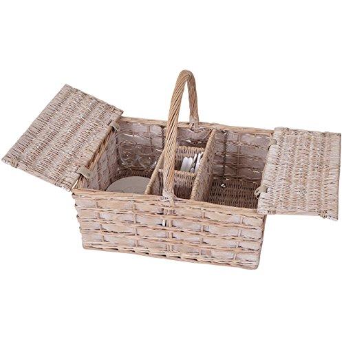Mendler Picknickkorb-Set für 4 Personen, Picknicktasche, Porzellan Glas Edelstahl, Holz