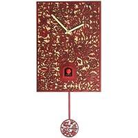 Rombach & Haas Moderne Kuckucksuhr Ornamente Eleganz rot Quarzwerk 29 cm