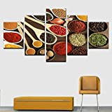 guohao Immagini Moderne su pareti HD Stampe HD Cucchiaio Grani Spezie Modulari Tela Pittura Complementi arredo Cucina Cucina Poster-40X60Cmx2 40X80Cmx2 40X100Cmx1 Senza Cornice