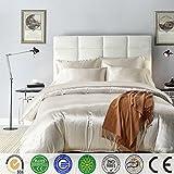 Bettbezug Set,Chickwin Pure Color Generic Satin Luxus Seide Bettdecke Bettbezug Set Bettwäsche Sets enthalten Bettbezug Bettlaken Kopfkissenbezüge (Weiß, Single (135*200cm))