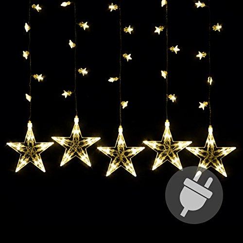Sternenvorhang 100 LED warm weiß Lichterkette Lichtervorhang Stern Trafo Timer Weihnachtsdeko Partydeko Weihnachtsbeleuchtung Innen Xmas