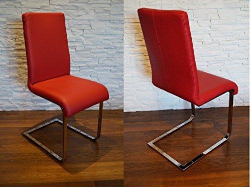 Rot Echtleder Schwingstuhl Stühle'Moderno' Lederstühle Echt Leder'MDR Red' Esszimmerstuhl Lehnstuhl Rindsleder Volleder Esszimmerstühle