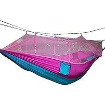 niceEshop(TM) Hamaca Unipersonal Colgante Cama Portátil de Alta Resistencia Tela Hamaca con Mosquitera para Viajar de Camping al Aire Libre, Rosa y Azul