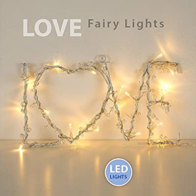 Lovely Warm White 20 LED Battery Operated Beaded Metal LOVE Shaped Decorative Wreath Wall Hanging Light
