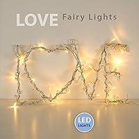 """Lampada moderna e bella operata a batteria con stuttura di metallo, 20 luci LED di colore bianco caldo, e nella forma della parola """"LOVE"""" – sospesa da parete - Anello Operato"""