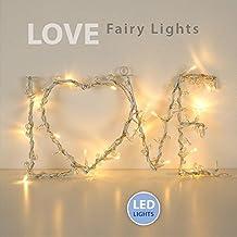 Guirnalda Luminosa LOVE MiniSun 20 Luces en Cadena LED en Blanco Cálido para Pared a Pilas
