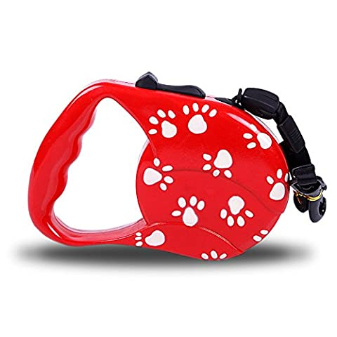 Retractable Dog Training Lead,CoolFoxx Cute Dog Paws Flexible 9.8 Ft