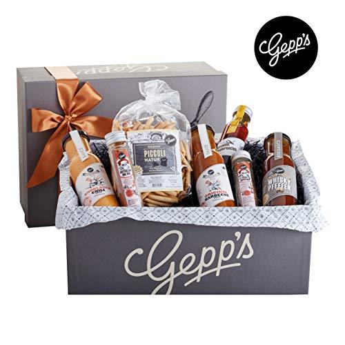 Gepp's Feinkost Grillmeister Geschenkbox | Feinkost-Geschenkkorb gefüllt mit den perfekten Zutaten zum Grillen, hergestellt nach eigener Rezeptur | Gourmet Grillgeschenk-Set für alle Männer