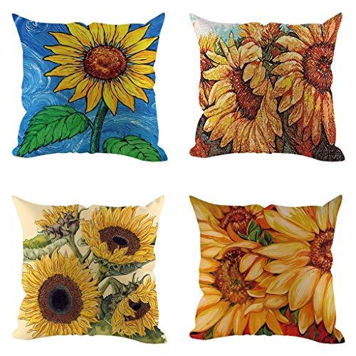OPAKY 4PC Sunflower Kissenbezug Coffee Shop Sofa Kissenbezug Home Decoration