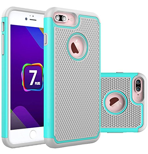 iPhone 7 Plus,Hülle Stoßfest Handy Schutzhülle Stoßgedämpfter Extraharte Tasche Silikon Gel Hybrid Armor Cover Case Etui für Apple iPhone 7+ - Grun Blau