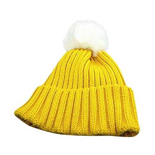 Hffan Kinder Kleinkind Kinder Warm Stricken Beanie-Hut Jungen Mädchen Pelz Pom Bommel Häkeln Kappe Babymütze Kindermützen strickmütze baby neugeborenen mütze Schnee Hut (Gelb)