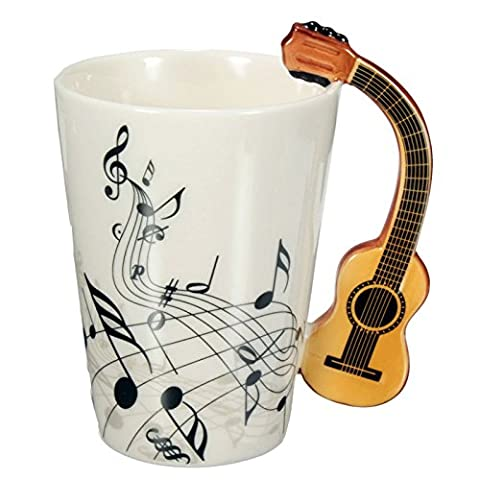 Novelty Guitar Ceramic Cup Music Note Milk Juice Lemon Mug Coffee Tea Cup Home Office Drinkware