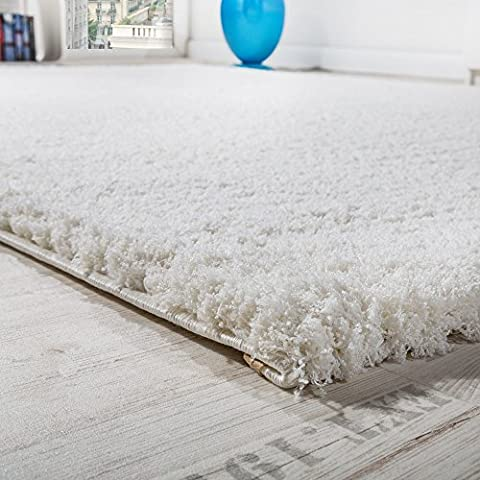 Alfombra Shaggy Micropoliéster Salón Elegante Resistente Pelo Largo En Crema, Grösse:80x150 cm