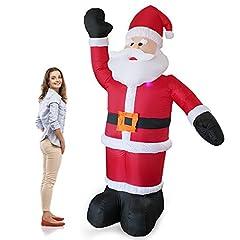 Idea Regalo - [en.casa] Babbo Natale gigante gonfiabile 240cm con 4 LED Uso interno e esterno