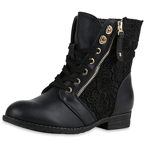 Kostüm Lieblings - SCARPE VITA Damen Stiefeletten Boots Schnürstiefel Spitze Used Look Schuhe 160302 Schwarz Spitze 38