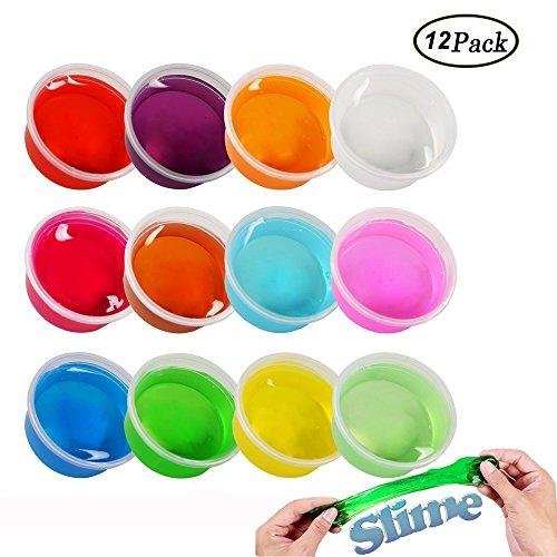 Swallowzy Crystal Slime, Clear Schleim Kristall Ton Stress Relief Schlamm DIY Spielzeug für Kinder Erwachsene, 12 Farben