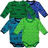 Pippi 4er Pack Baby Jungen Body mit Aufdruck, Langarm, Alter 12-18 Monate, Größe: 86, Farbe: Dunkelblau, 3819