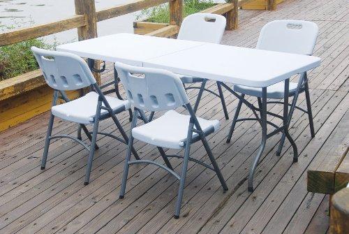 Vinsani 6FT Folding Garden Banquet Parties BBQ Table - White
