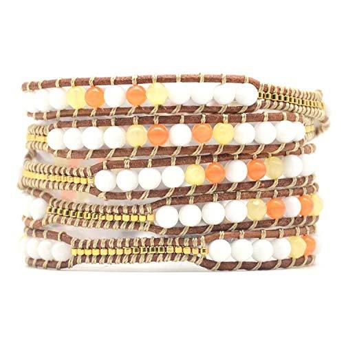 It's-ok Klassisches Boho-Armband, einzigartiger Naturstein, Vintage-Leder, Wickelarmband, Bohemian-Stil, goldfarben -