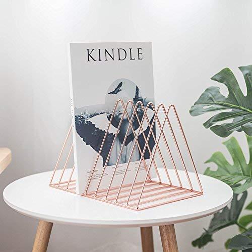 KKLTE Geometrische Zeitschriftenständer - Zeitungsorganizer, Retro-Design-Desktop-Aufbewahrungsbox Bücherregal, Metall-Ordner, Home-Office (Roségold)