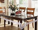 #4: Pindia 4 Seater 40 x 60 CM Silver Border Plain Transparent Waterproof Center Table Cover Sheet Mat PVC plastic
