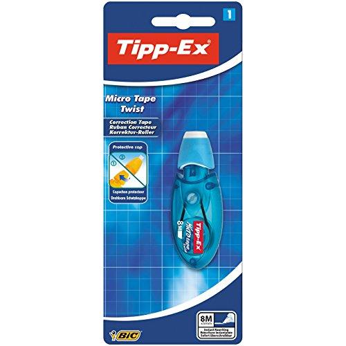 Tipp-Ex Korrekturroller Micro Tape Twist mit drehbarer Schutzkappe - Blau oder Rot - Korrekturband 8 m x 5 mm - 1 Blister à 1 Korrekturmaus