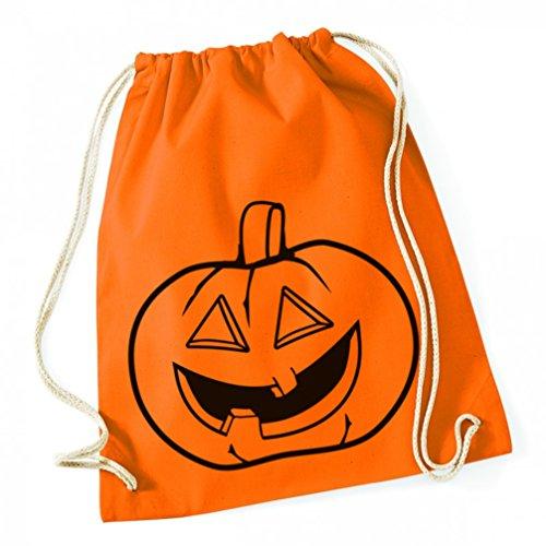 aumwolle Tagesrucksack Jutebeutel Halloween Kürbis orange lustig Damen Herren und Jugendliche ()