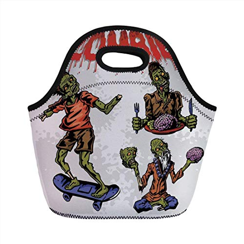 Portable Bento Lunch Bag,Zombie Decor,Dead Man Eating Brain Hannibal Meditating Skate Boarding Graphic,Olive Green Red Dust,for Kids Adult Thermal Insulated Tote Bags