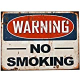 Dadeldo Living & Lifestyle Blechschild Warning No Smoking Design Metall 30x40cm bunt Retro Nostalgie Sprüche Reklame
