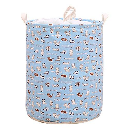 hangnuo-pieghevole-cotone-e-lino-cesto-biancheria-cesto-giocattoli-pop-up-organizer-bins-blue-cats