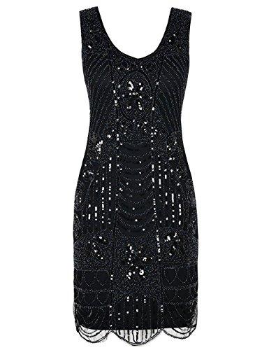 kayamiya Damen Retro 1920er Perlen Pailletten Blatt Art Deco Gatsby Flapper Kleid S Schwarz (Pailletten Flapper Kleid Kostüm)