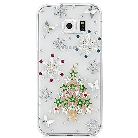 Samsung Galaxy S7 Hülle, Sense TE Strass [3D Handgefertigt] Diamant Serie Bling Schutz Handy Tasche Kristall Hülle mit Retro Anti Staub Stecker - Weihnachtssterne Schnee Schmetterling / Grün