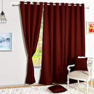 Story@Home Blackout Faux Silk Superior 2 Piece Plain Solid Window Curtains, 5 feet, Maroon