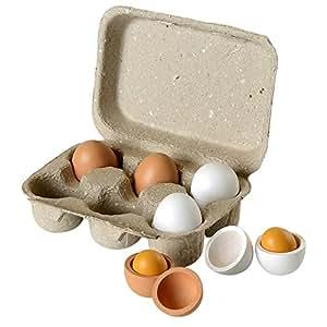 Beluga 70827 - 6 uova in legno, 6 cm, con contenitore in cartone