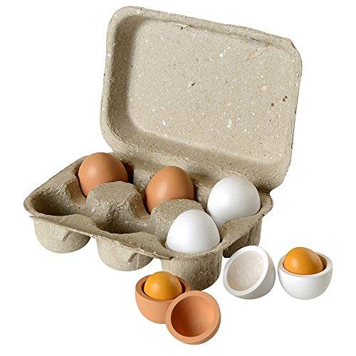 *Beluga Spielwaren 70827 – Eierset mit Holzeiern, 6er Pack*