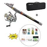 Lixada Fishing Rod and Reel Combo Kit Telescopic Spinning Fishing Reel Gear Organizer