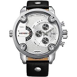 Alienwork DualTime Quartz Watch Multi Time Zones Wristwatch XXL Oversized Leather white black OS.WH-3301-2