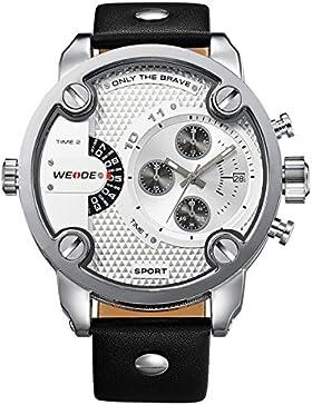 Alienwork DualTime Quarz Armbanduhr Multi Zeitzonen Quarzuhr Uhr XXL Oversized weiss schwarz Leder OS.WH-3301-2