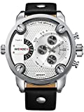 Alienwork DualTime Quartz Watch Multi Time Zones Wristwatch XXL Oversized Leather white black OS.WH-3301-2